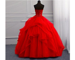 G230, Red Tub Top Ball Gown, Size (XS-30 to XL-40)