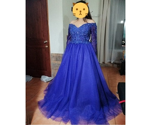 G235, Royal Blue Semi off Shoulder Ball Gown, Size (XS-30 to XXL-44)