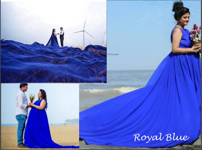 G138, Royal Blue Trail Gown Prewedding Shoot, Size - (XS-30 to XXXL-46)