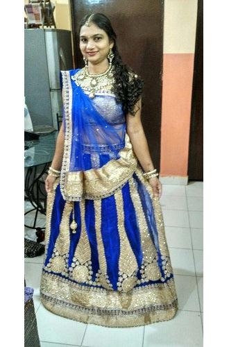 L43, Royal Blue Lehenga, Size (XS-30 to XL-40)