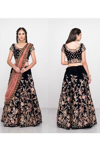 L27,Navy Blue Floral Embroidered Lehenga, Size (XS-30 to XXL-40)