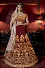 Load image into Gallery viewer, L11, Sabhyasachi style Maroon Velvet Bridal Lehenga, Size (XS-30 to XL-40)