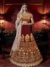 Load image into Gallery viewer, L11, Sabhyasachi style Maroon Velvet Lehenga, Size (XS-30 to XL-40)