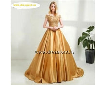 Load image into Gallery viewer, G176, Golden Off Shoulder Satin Ball Gown, Size (XS-30 to L-38)