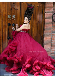 G148, Wine Puffy Maternity Shoot  Baby Shower Trail Gown Size, (XS-30 to XL-42)