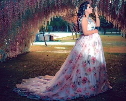 G124, Maternity Shoot Light Pink Floral Trail Baby Shower Gown, Size (XS-30 to XXXL-46)