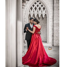 Load image into Gallery viewer, G130 (6+2) Wine Satin Off Shoulder Trail Ball gown, Size (XS-30 to XL-40)
