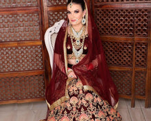 Load image into Gallery viewer, L30, Coffee pink Bridal multicolor Thread Work Lehenga  Size (XS-30 to XL-40)