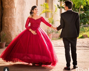 G135 (5), Wine Prewedding Shoot Semi off Shoulder Ball Gown, Size (XS-30 to XXL-35)