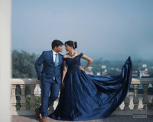 Load image into Gallery viewer, G132 (2), Navy Blue Satin Off Shoulder Trail Ball gown, Size (XS-30 to XL-40)