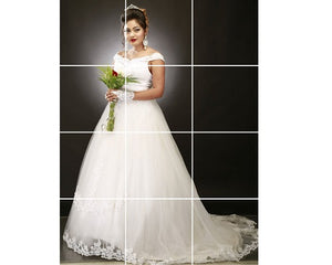 W164, White Slit Neckline trail Ball Gown, Size (XS-30 to XL-40)