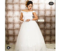 Load image into Gallery viewer, W164, White Slit Neckline trail Ball Gown, Size (XS-30 to XL-40)