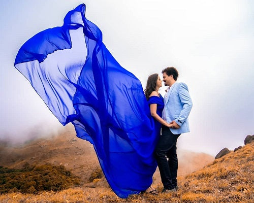 G200, Royal Blue Long Trail Prewedding Shoot Gown, Size - (XS-30 to XXL-42)