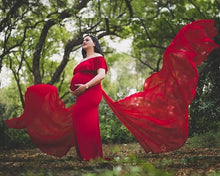 Load image into Gallery viewer, G42, Long Off Shoulder Red Maternity shoot Baby Shower dress, Size (XS-30 to XXL-42)