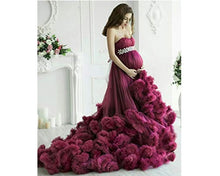 Load image into Gallery viewer, G201, Wine Puffy Maternity Shoot  Baby Shower Trail Gown Size, (XS-30 to XL-40)