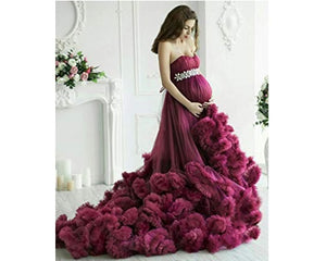 G201, Wine Puffy Maternity Shoot  Baby Shower Trail Gown Size, (XS-30 to XL-40)