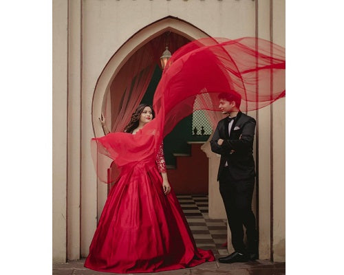 G133, Wine colour Satin Full Sleeves Trail Ball gown, Size (XS-30 to M-35)