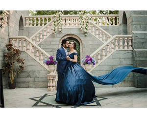 G132 (3), Navy Blue Satin Off Shoulder Trail Ball gown
