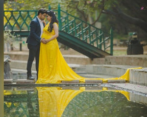 G178, Yellow Maternity Gown, Size (XS-30 to XXL-40),