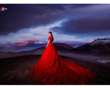 Load image into Gallery viewer, G129 (3), Red Offshoulder Half Sleeves Infinity Prewedding Shoot Trail Ball Gown, Size (XS-30 to L-38)
