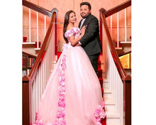 Load image into Gallery viewer, G144, Pink Flower Quinceanera Prewdding Trail Big Ball Gown, Size (XS-30 to L-38)