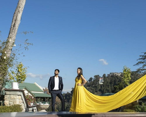 G178 Yellow Prewedding Shoot Infinity Long Trail Gown Size (XS-30 to L-38)