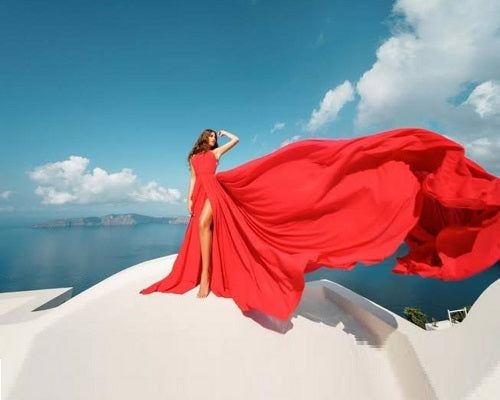 G285, Red slit cut infinity prewedding shoot trail gown Size ( XS-30 To L 38 )