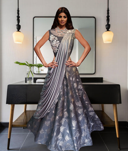 L5, Grey Saree Gown (Shilpa Shetty), Size (XS-30 to XXL-42)