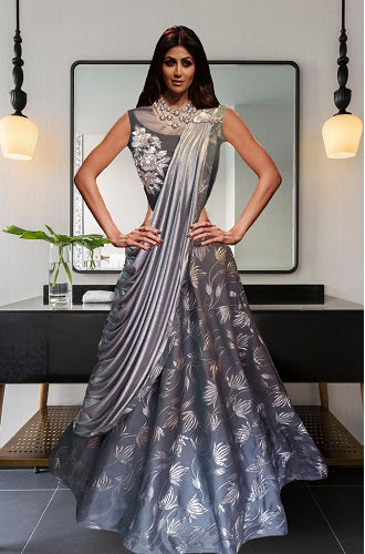 Grey Saree Gown (Shilpa Shetty), Size (XS-30 to XXL-42), L5,
