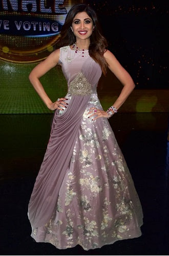 L8, Purple Saree Gown (Shilpa Shetty), Size (XS-30 to XXL-42)