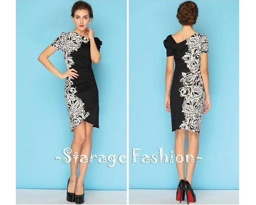 Short Black & White Dress, Size (XS-30 to L-36)