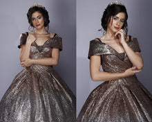 Load image into Gallery viewer, G136, Luxury Gold And Silver Princess Evening Ball Gown, Size (XS-30 to L-38)