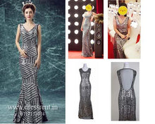 Load image into Gallery viewer, G87, Silver Black Mermaid Cocktail Gown, Size (XS-30 toL-36)