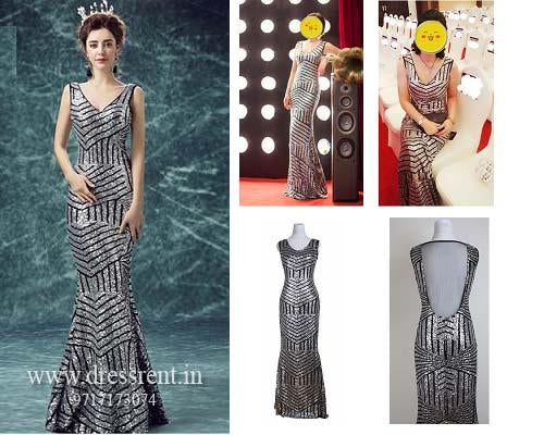 G87, Silver Black Mermaid Cocktail Gown, Size (XS-30 toL-36)