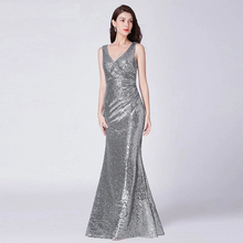 Load image into Gallery viewer, G154, Silver V Neck Mermaid Cocktail Evening Gown, Size (XS-30 to L-36)