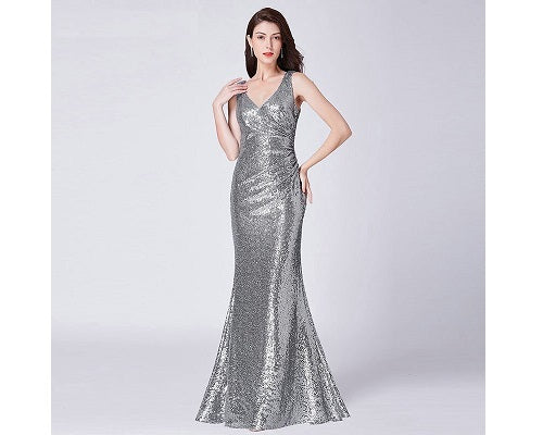 G154, Silver V Neck Mermaid Cocktail Evening Gown, Size (XS-30 to L-36)