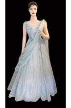 Load image into Gallery viewer, G172, Sweet Sky Blue Indo-Western Saree Gown, Size (XS-30 to L-38)