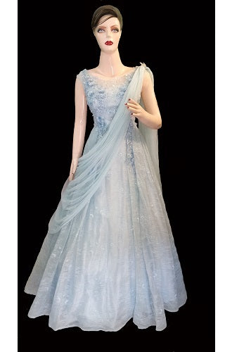 G172, Sweet Sky Blue Indo-Western Saree Gown, Size (XS-30 to L-38)