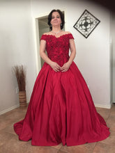 Load image into Gallery viewer, G130 t, Wine Satin Off Shoulder Trail Ball gown, Size (XS-30 to XL-40)