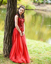 Load image into Gallery viewer, G127 (4), Wine Flower Prom Ball Gown, Size (XS-30 to XL-40)