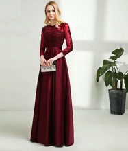 Load image into Gallery viewer, Dark Wine Satin Prom Dress, Size (XS-30 to L-38)