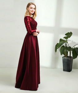 G92 (7), Dark Wine Satin Evening Gown, Size (XS-30 to XXL-44)