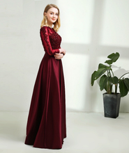 Load image into Gallery viewer, G92, Dark Wine Satin Prewedding Shoot  trail Gown, Size (XS-30 to XXL-44)