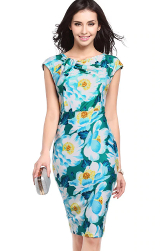 Print Flower Knee Length Party Dress,Size (XS-30 to L-38)