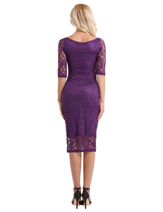 Purple Sleeves Cocktail Dress,Size (XS-30 to L-38)