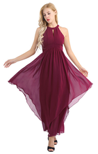 Load image into Gallery viewer, Wine Sleeveless Halter Chiffon Party Dress,Size (XS-30 to L-38)