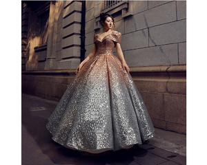 G136, Luxury Gold And Silver Princess Evening Ball Gown, Size (XS-30 to L-38)