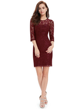 Load image into Gallery viewer, Wine Sleeves Cocktail Dress,Size (XS-30 to L-38)