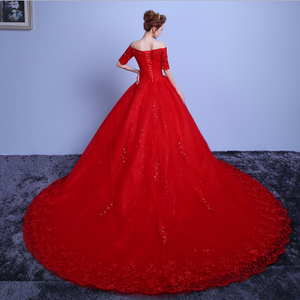 G129 (3), Red Off Shoulder half sleeves Trail Gown, Size (XS-30 to L-38)
