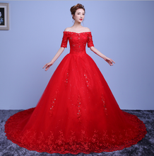 Load image into Gallery viewer, G139, Red Off Shoulder Trail Gown, Size (XS-30 to L-38)